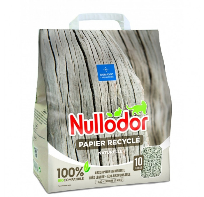 Nullodor - Litière papier recyclé 100% BioCompatible pour Chat - 10L