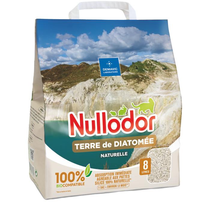 Nullodor - Litière Terre de Diatomée 100% Éco pour Chat - 8L