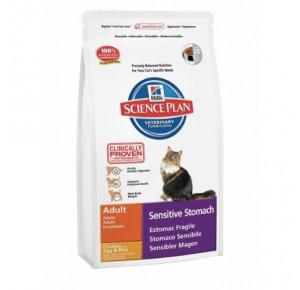 Hill's Science Plan Feline Adulte Estomac Fragile Nourriture pour Chat Croquettes 5kg Poulet avec Œuf et Riz