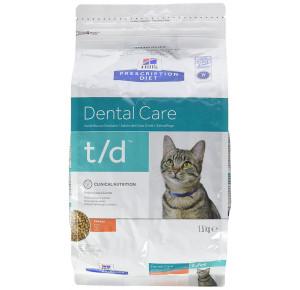 Hill's Prescription Diet Feline T/D Santé Bucco-dentaire Nourriture pour Chat Croquettes 1,5kg