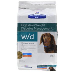 Hill's Prescription Diet Canine W/D Petite Race Pauvre en Graisse-Diabète-Colite Nourriture pour Chien Croquettes 1.5kg Poulet